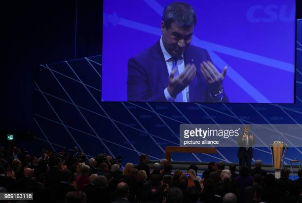 Bavaria's Minister of Finance Markus Soeder of the Christian Social Union  delivers a speech during the CSU's party congress in Nuremberg Germany...