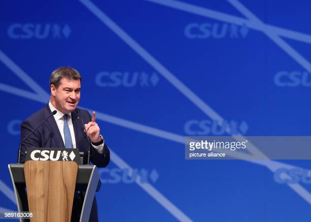 Bavaria's Minister of Finance Markus Soeder speaks during the CSU's party congress in Nuremberg Germany 16 December 2017 Photo Daniel Karmann/dpa