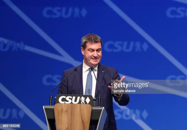 Bavaria's Minister of Finance Markus Soeder speaks during the CSU's party congress in Nuremberg Germany 16December 2017 Photo Daniel Karmann/dpa
