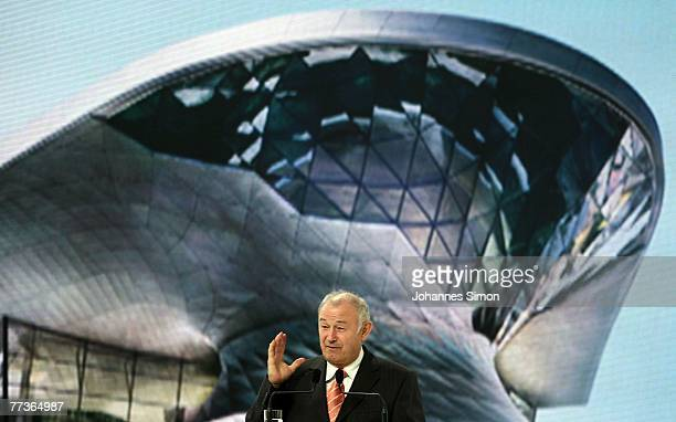 Bavaria's State Governor Guenther Beckstein delivers a speech during the opening ceremony of the BMW World on October 17 2007 in Munich Germany BMW...