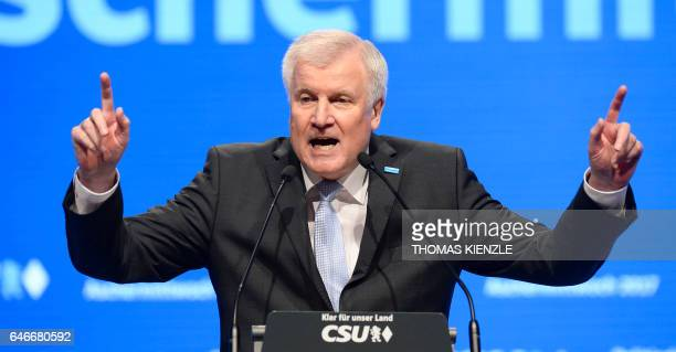 Bavaria's State Premier and leader of the conservative Christian Social Union Horst Seehofer gives a speech during his party's traditional Ash...