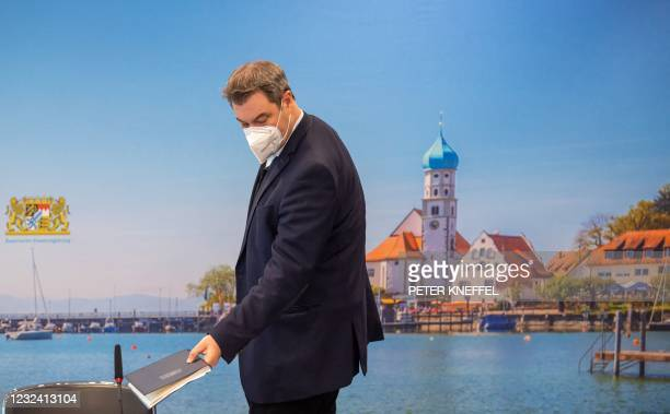 Bavaria's State Premier Markus Soeder arrives to lead a video-conferenced cabinet meeting on April 20, 2021 in Munich, southern Germany.