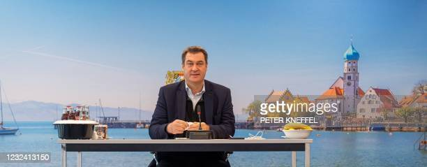 Bavaria's State Premier Markus Soeder prepares to lead a video-conferenced cabinet meeting on April 20, 2021 in Munich, southern Germany.