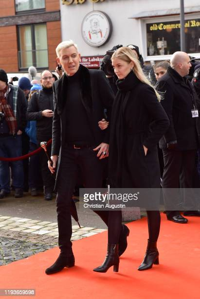 P Baxxter and Lysann Geller during the memorial service for Jan Fedder at Hamburger Michel on January 14 2020 in Hamburg Germany German actor Jan...