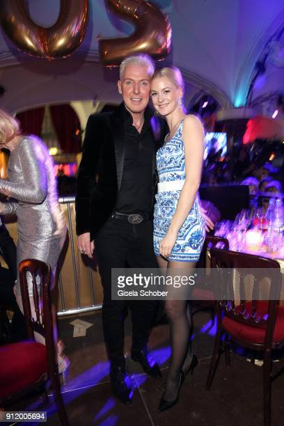 P Baxxter singer of Scooter and his girlfriend Lysann Geller during the 20th Lambertz Monday Night 2018 at Alter Wartesaal on January 29 2018 in...