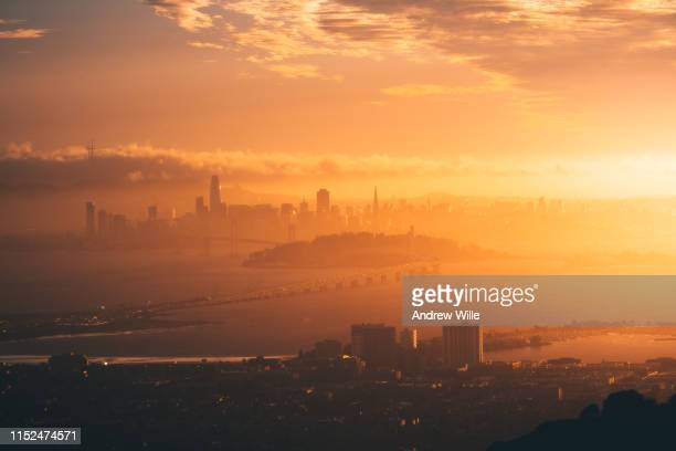 bay area golden hour - golden hour stock pictures, royalty-free photos & images