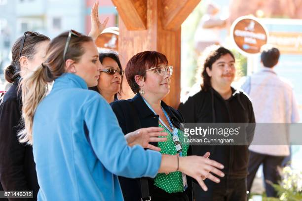 Bay Area nonprofit Cool Effect engages with attendees of Dreamforce at Dreamforce on November 7 2017 in San Francisco California The engagement...