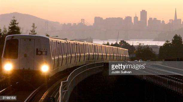 A Bay Area Rapid Transit train is seen in this undated file photo as it pulls into Oakland California The FBI has issued a warning April 2 2004 to...