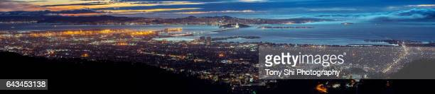 bay area - scenic grizzly peak vista - berkeley hills - oakland california skyline stock pictures, royalty-free photos & images