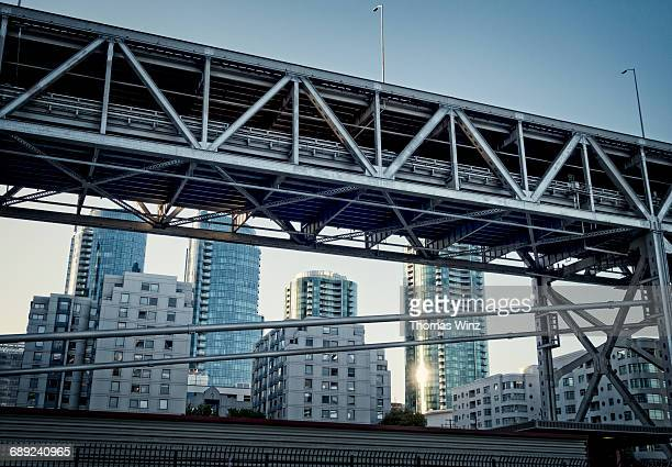 bay bridge and highrise buildings - san rafael california stock pictures, royalty-free photos & images