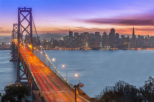 Bay Bridge And San Francisco Skyline At Sunset Wall Art