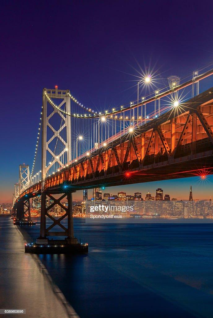 Bay Bridge and San Francisco skyline at sunset : Stock Photo