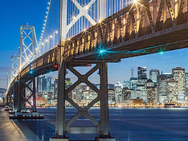 Bay Bridge And Skyline Of San Francisco At Night Wall Art