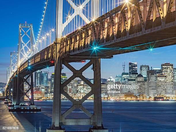 Bay Bridge and skyline of San Francisco at night