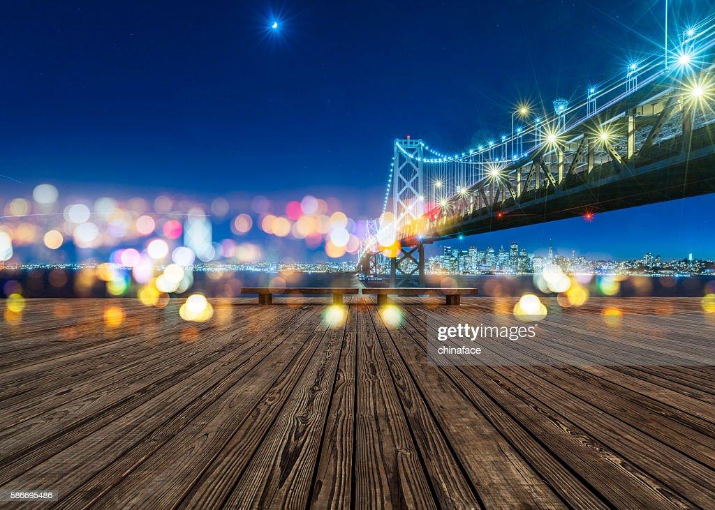 Bay Bridge and skyline of San Francisco at night : Stock Photo