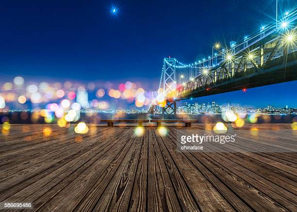 Bay Bridge and skyline of San Francisco at night