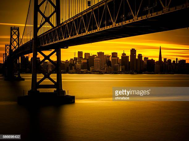 Bay Bridge and skyline of San Francisco in sunset