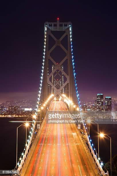 bay bridge at night - yuan quan stock pictures, royalty-free photos & images