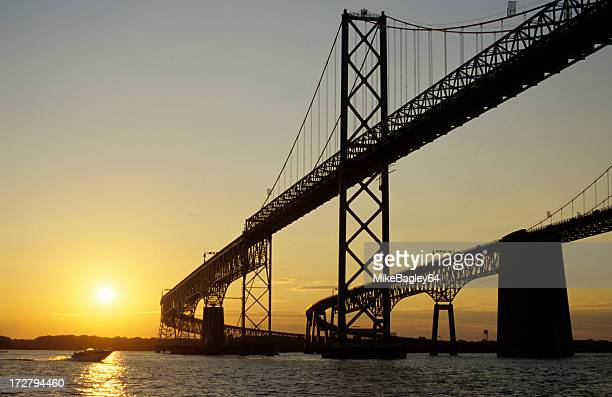 bay bridge at sunset - chesapeake bay stock pictures, royalty-free photos & images