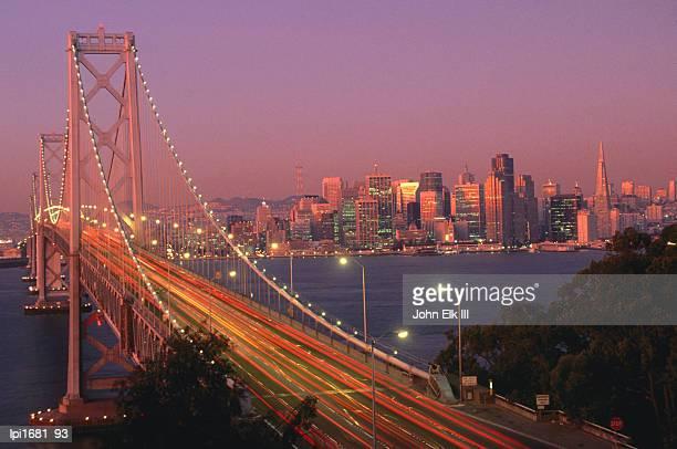 bay bridge at sunset, san francisco, united states of america - bay bridge stock pictures, royalty-free photos & images