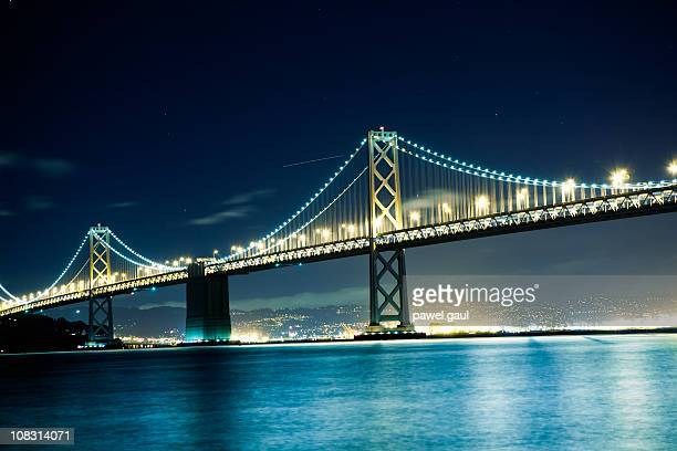 bay bridge by night - bay bridge stock pictures, royalty-free photos & images