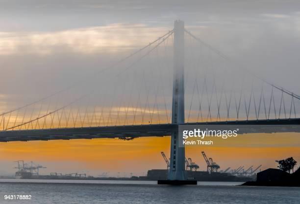 Bay Bridge East Bay Tower in Fog at Sunrise