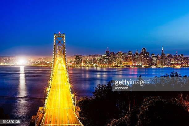 Bay Bridge with San Francisco Cityscape at Night