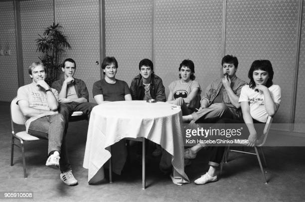 Bay City Rollers at press conference March 1983 Tokyo Japan Leslie McKeown Derek Longmuir Alan Longmuir Eric Faulkner Stuart 'Woody' Wood Ian...