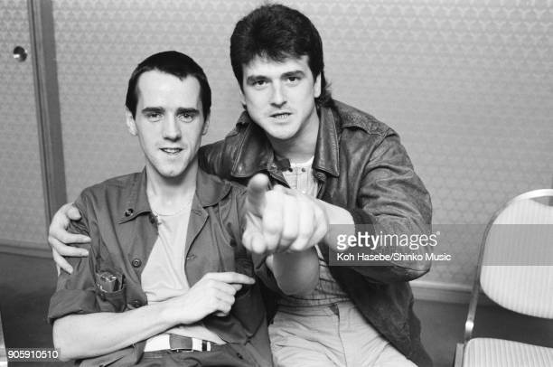 Bay City Rollers at press conference March 1983 Tokyo Japan Leslie McKeown Stuart 'Woody' Wood
