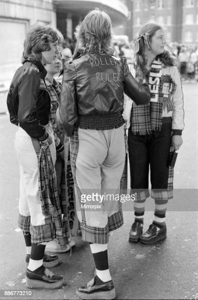 Bay City Rollers fans outside the Odeon Hammersmith after the groups concert 1st June 1975