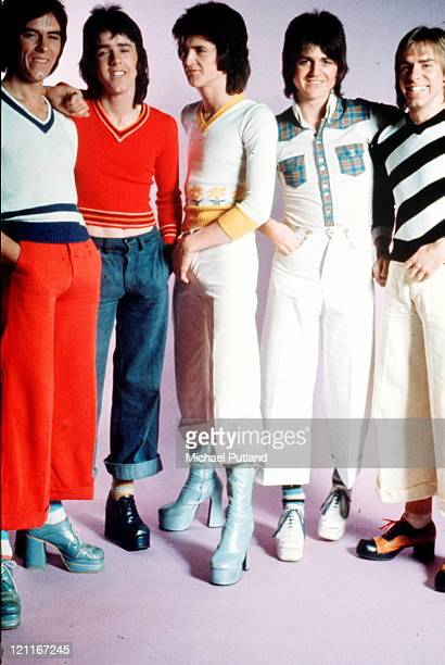 Bay City Rollers studio group portrait UK March 1974 LR Alan Longmuir Eric Faulkner Les Mckeown Stuart 'Woody' Wood Derek Longmuir