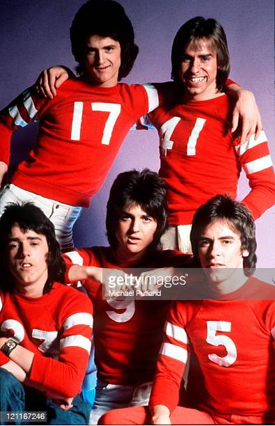Bay City Rollers studio group portrait UK March 1974 LR Les Mckeown Derek Longmuir Stuart 'Woody' Wood Eric Faulkner Alan Longmuir