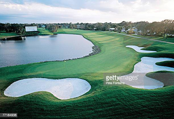 Bay Hill Club and Lodge hole 18, Re-designed by Arnold Palmer Course Design 1978. April 15, 2002 Scenic Golf