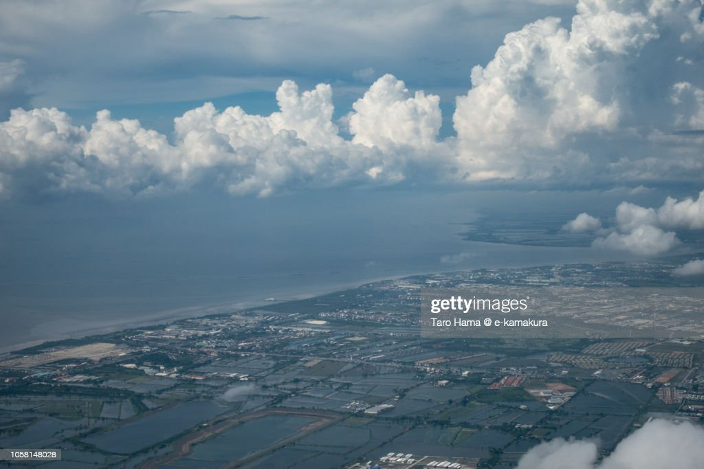 Bay of Bangkok and Samut Prakan province in Thailand daytime aerial view from airplane : Foto de stock