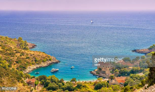bay of dubovica, hvar (croatia) - hvar stock photos and pictures
