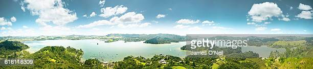 bay of islands panoramic - northland new zealand stock pictures, royalty-free photos & images