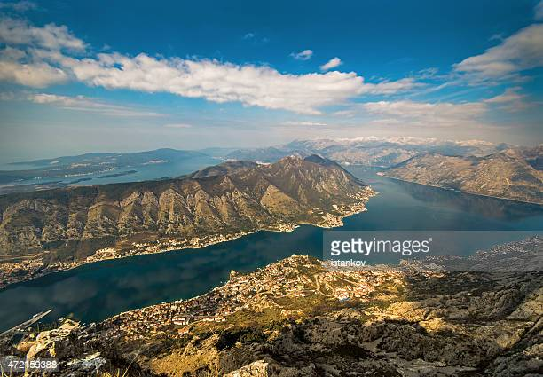 bay of kotor, aerial landscape - kotor bay stock pictures, royalty-free photos & images