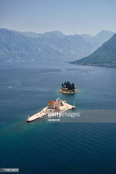 Bay of Kotor Church Islands, Montenegro (aerial view)