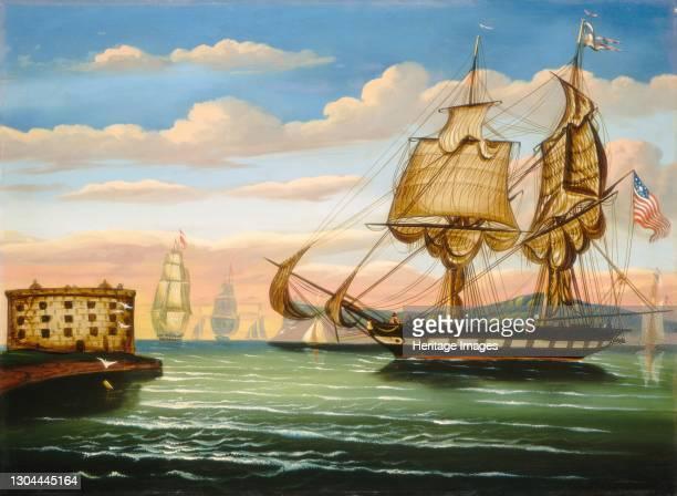 Bay of New York, Sunset, mid 19th century. Artist Thomas Chambers.