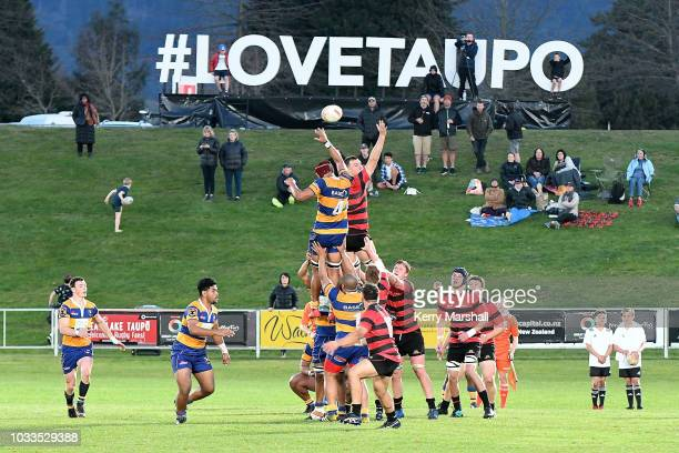 Bay of Plenty and Canterbury players contest a lineout during the Jock Hobbs U19 Rugby Tournament on September 15 2018 in Taupo New Zealand