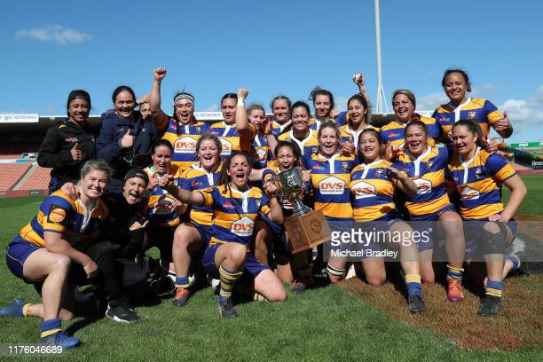 Bay of Plenty celebrate during the round 4 Farah Palmer Cup match between Waikato and Bay of Plenty at FMG Stadium on September 21, 2019 in Hamilton,...