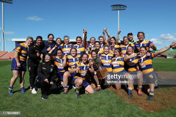 Bay of Plenty celebrate during the round 4 Farah Palmer Cup match between Waikato and Bay of Plenty at FMG Stadium on September 21 2019 in Hamilton...