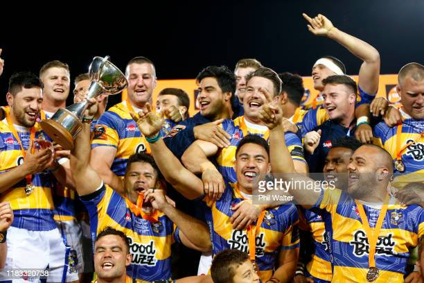 Bay of Plenty celebrate with the Championship Trophy following the Mitre 10 Cup Championship Final between Bay of Plenty and Hawke's Bay at Rotorua...