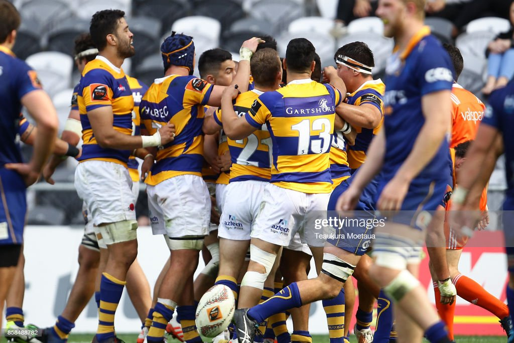 Bay of Plenty celebrates a try during the round eight Mitre 10 cup match between Otago and Bay of Plenty at Forsyth Barr Stadium on October 7, 2017 in Dunedin, New Zealand.