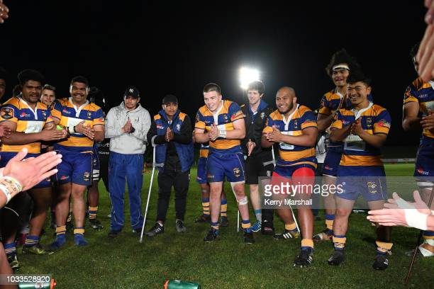 Bay of Plenty players celebrate during the Jock Hobbs U19 Rugby Tournament on September 15 2018 in Taupo New Zealand