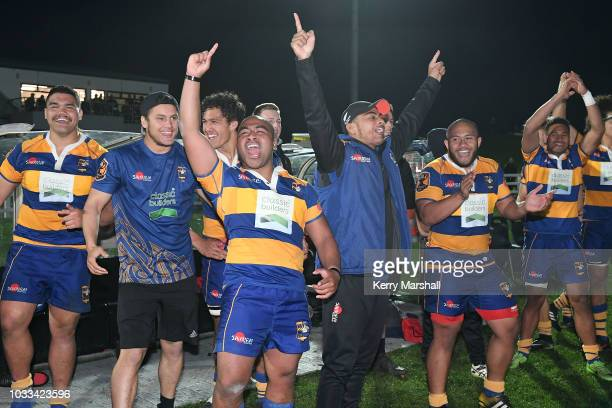 Bay of Plenty players celebrate full time during the Jock Hobbs U19 Rugby Tournament on September 15 2018 in Taupo New Zealand