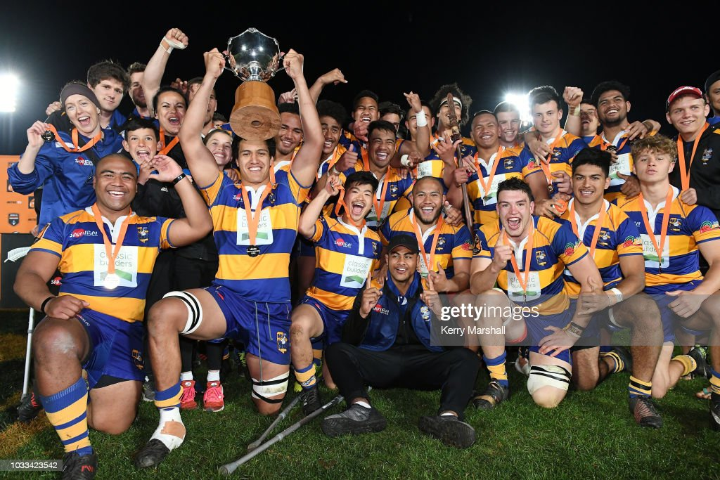 Bay of Plenty players celebrate winning the Graham Mourie Cup during the Jock Hobbs U19 Rugby Tournament on September 15, 2018 in Taupo, New Zealand.