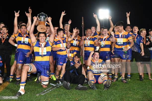 Bay of Plenty players celebrate winning the Graham Mourie Cup during the Jock Hobbs U19 Rugby Tournament on September 15 2018 in Taupo New Zealand
