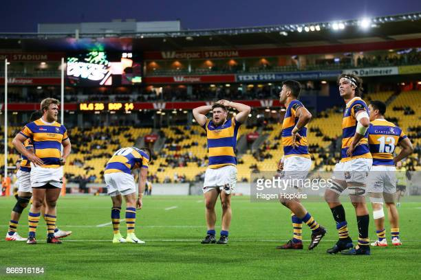 Bay of Plenty players look on in disappointment during the Mitre 10 Cup Championship Final match between Wellington and Bay of Plenty at Westpac...