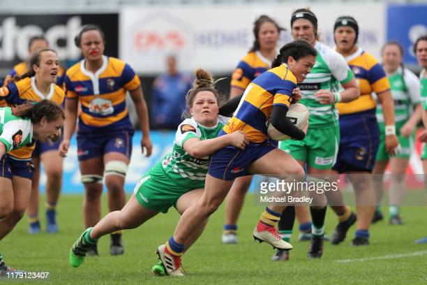 Bay of Plenty's AutumnRain StephensDaly makes a break for the try line during the round 6 Farah Palmer Cup match between Bay Of Plenty and Manawatu...